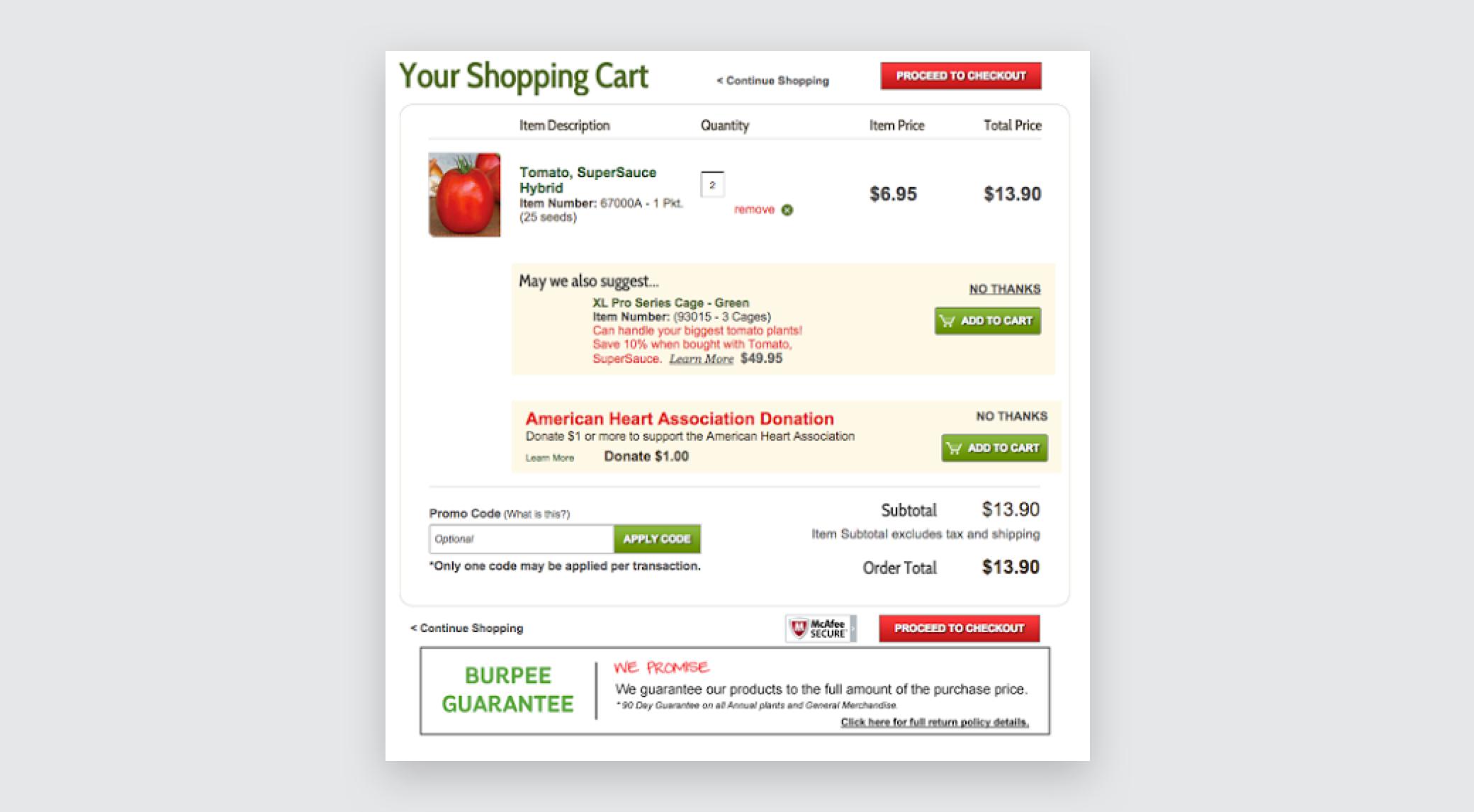 Burpee.com's cart