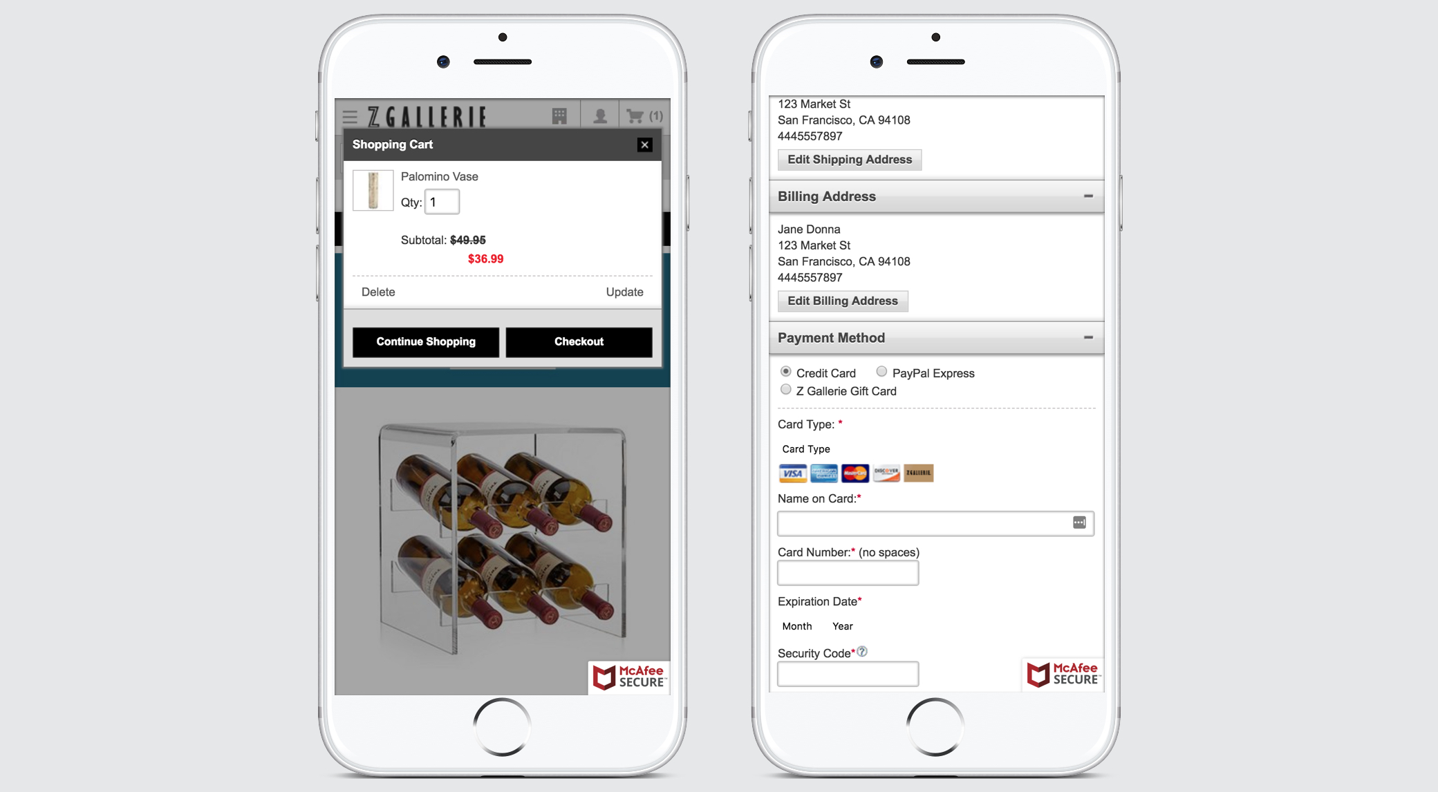Zgallerie-cart-and-checkout