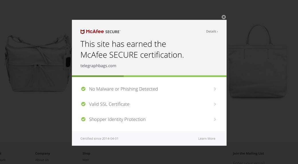 McAfee SECURE Certified Sites